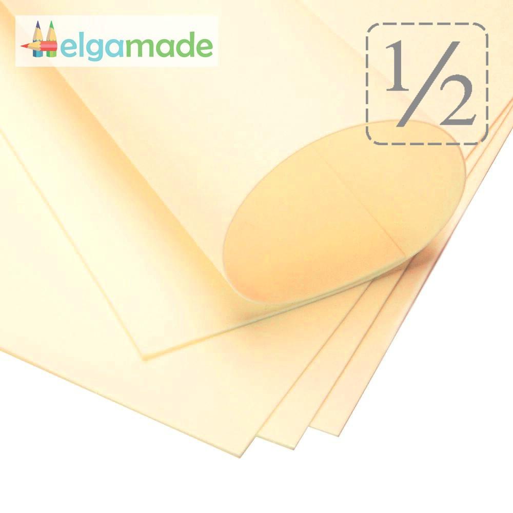 Фоамиран АНТИЧНЫЙ БЕЛЫЙ (желтоватый), 1/2 листа, 30x70 см, 0.8-1.2 мм, Иран