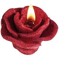 Свеча в виде розы в декоративной коробке