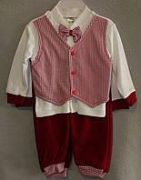 Костюм для Новорожденных «Мистер». 3-6 м. Бордовые штанишки, жилетка, бабочка, белая кофточка, Турция