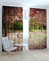 Фотошторы скамейка в цветущем саду