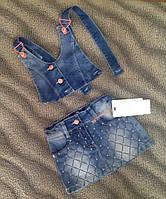 Джинсовая юбка-сарафан.Последний размер на 5 лет