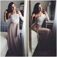Женское Платье в пол с разрезом   гипюровый верх