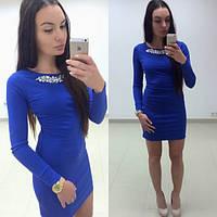 Женское нарядное Платье с камнями синее, фото 1