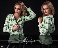 Стильный женский пиджак зеленый