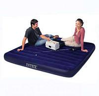 Надувной двух спальный матрас Intex  для туризма рыбалки 203х152х22см