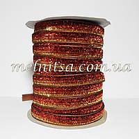 Лента бархатная с люрексом, 1 см,  бордо с золотом