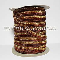 Лента бархатная с люрексом, 1 см,  коричневая с золотом