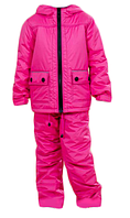 Детская термо куртка на флисе для девочки, ветровка детская с капюшоном на молнии термо (розовая)