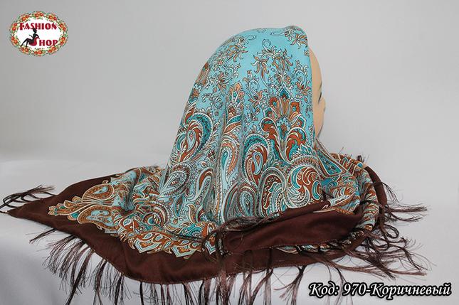 Павлопосадский коричневый платок Лиза, фото 2