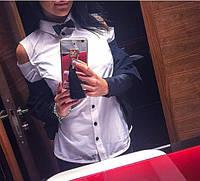 Женская рубашка с бантом белая IO-311