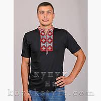 """Футболка чоловіча вишита """"Слобожанська"""" чорна з червоно-білою вишивкою"""