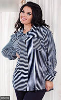 Оригинальная женская рубашка свободного силуэта в полоску рукав длинный штапель батал Турция