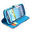 Чехол книжка для Samsung Galaxy S3 i9300i Duos боковой с отсеком для визиток, Красочный букет, фото 5