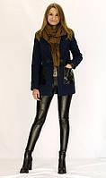 Молодежное пальто синего цвета