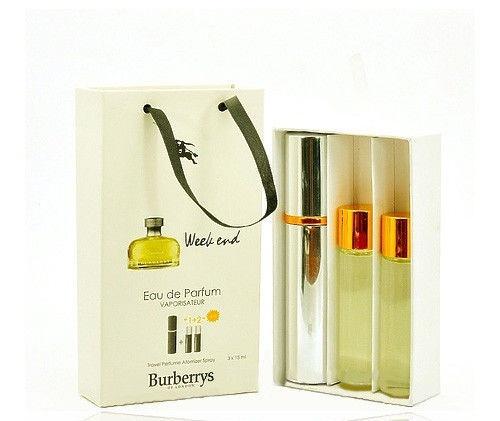 Подарочный парфюмерный набор с феромонами женский Burberry Weekend for Women (Барберри Викенд ) 3x15 мл