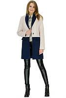 Двухцветное кашемировое пальто в фасоне удлинённого пиджака