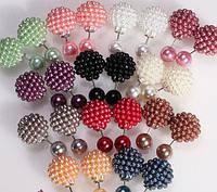 Серьги Dior Диор шарики светло-серые