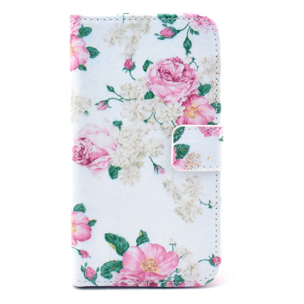 Чехол книжка для Samsung Galaxy S3 i9300i Duos боковой с отсеком для визиток, Элегантные розы