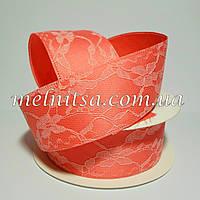 Лента атласная с гипюром, 4см, цвет коралловый
