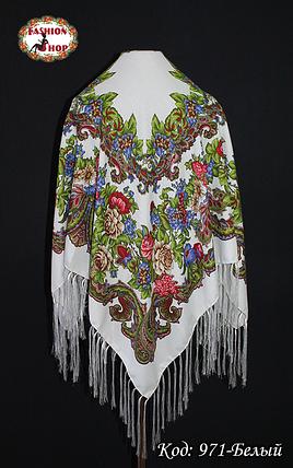 Павлопосадский белый платок Алёна, фото 2