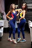 Женский спортивный костюм комбинезон для занятий спортом и фитнеса, синий с розовыми и желтыми вставками