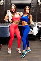 Яркий женский костюм-тройка для спорта и фитнеса: топ, майка и лосины. В розовом и синем цвете