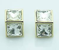 Квадратные белые серьги под золото. Серьги оптом для женщин недорого. 2065