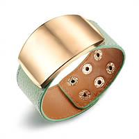 Широкий браслет м'ятного кольору із золотистою пластиною