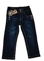 Детские джинсы брюки для девочки с бисером и камнями на молнии с пуговками темно синее Турция