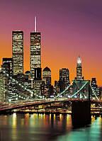 Фотообои бумажные на стену 183х254 см 4 листа: город Нью-Йорк Манхэттен