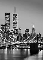 Фотообои бумажные на стену 183х254 см 4 листа: Ночной город, Нью-Йорк Манхэттен