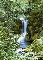 Фотообои бумажные на стену 183х254 см 4 листа: природа, Водопад в лесу