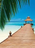 Фотообои бумажные на стену 183х254 см 4 листа: море, Райский пляж