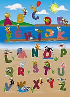 Фотообои бумажные на стену 183х254 см 4 листа: Алфавит с животными