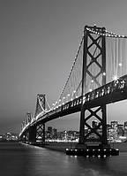 Фотообои бумажные на стену 183х254 см 4 листа:черно-белый мост  Сан-Франциско