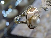 Серебряное кольцо с золотой пластинкой и жемчугом