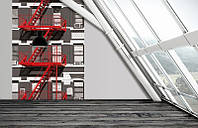 Фотообои бумажные на стену 183х248 см 4 листа: Пожарная лестница