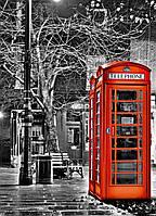 Фотообои бумажные на стену 183х254 см 4 листа: Ночной город, Телефонная будка