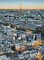 Фотообои бумажные на стену 183х254 см 4 листа: город Париж, вид сверху