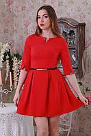 Стильное красивое трикотажное  платье приталенного силуэта с юбкой в складу.