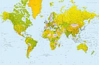 Фотообои бумажные на стену 115х175 см 1 лист: Политическая карта мира