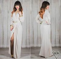 Бежевое платье 15534 в пол