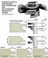 Ком-т фрез с напайными пластинами для изготовления мебельного фасада.(D-125,d-32) пр.3 2фрезы
