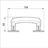 Ручка НO-7960Tsi для кейсов и чемоданов, складывается на бок. Пластик-сталь. Серая с хромированными вставками.
