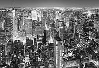 Фотообои флизелиновые на стену 366х254 см 8 листов: город черно-белый Нью-Йорк