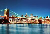 Фотообои флизелиновые на стену 366х254 см 8 листов: город Нью-Йорк Ист-Ривер  №961
