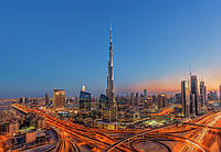 Фотообои флизелиновые на стену 366х254 см 8 листов: Бурдж-Халифа в Дубае  №973