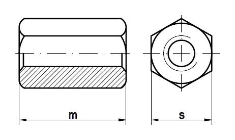 Чертеж соединительной гайки DIN 6334
