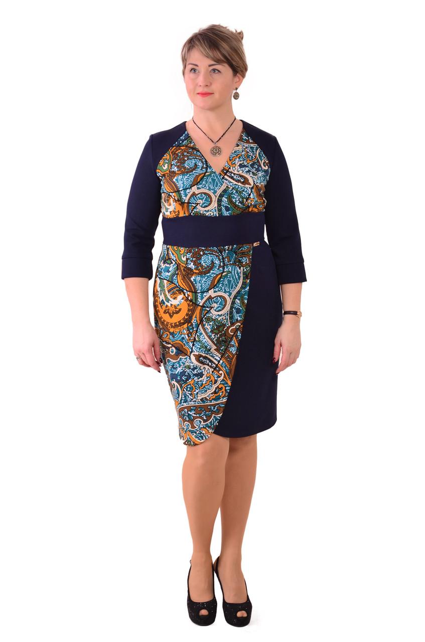 Платье темно синее с геометрическим рисунком, Пл 071-1.