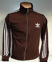 Мужская спортивная кофта коричневого цвета с лампасами, на молнии